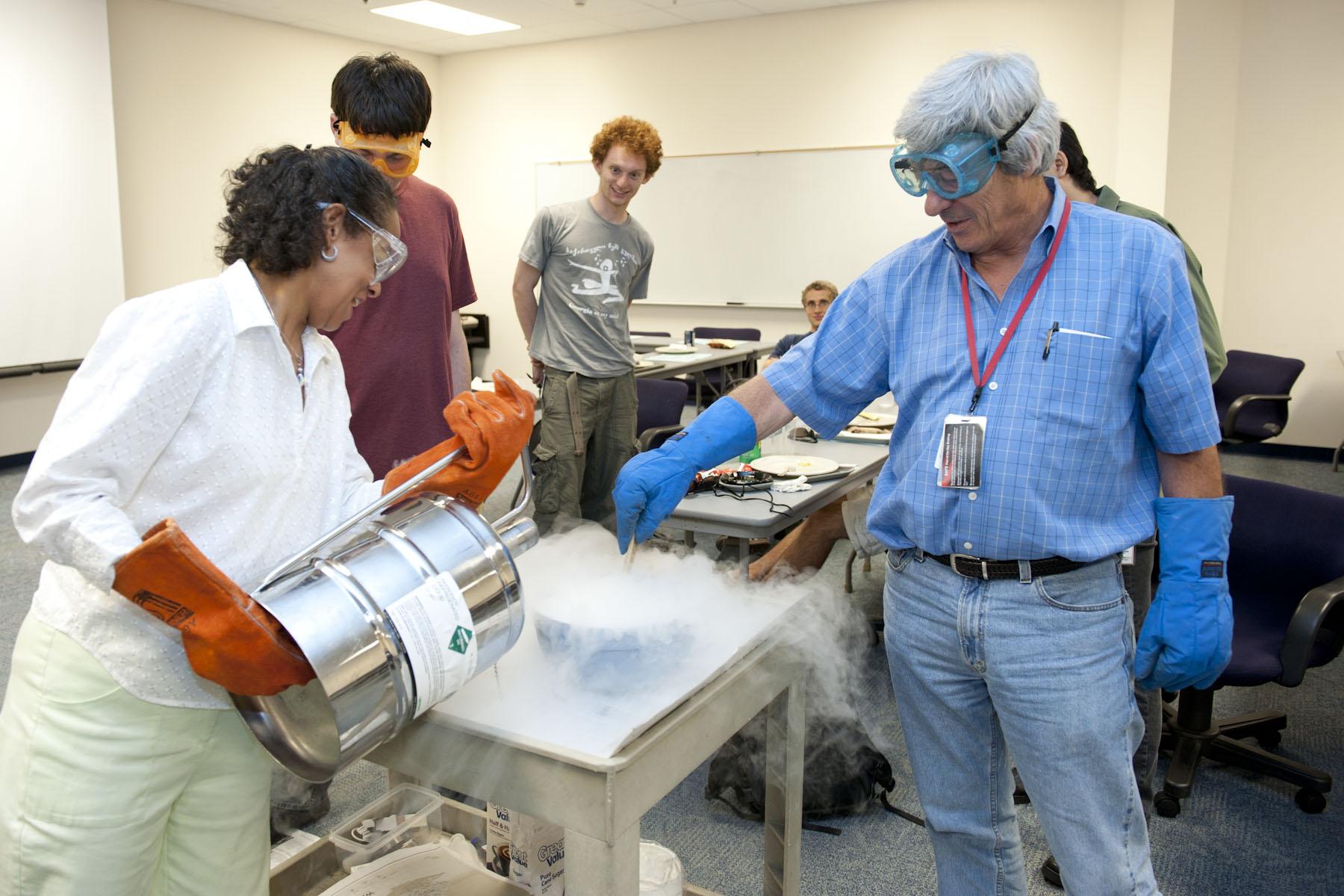 Hugh Montgomery participates in physics experiment.