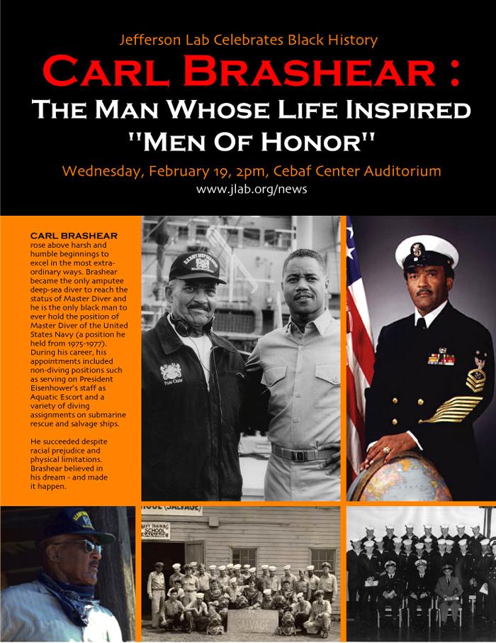 Poster of Black History Month guest speaker Carl Brashear, 2003