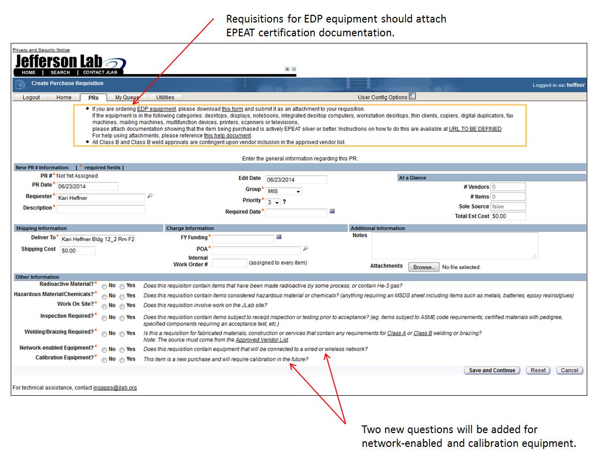 requisitions changes screenshot