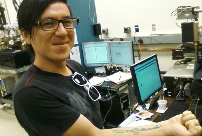 Program participant Gabriel Palacios after measuring the quantum efficiency of a strained lattice photocathode