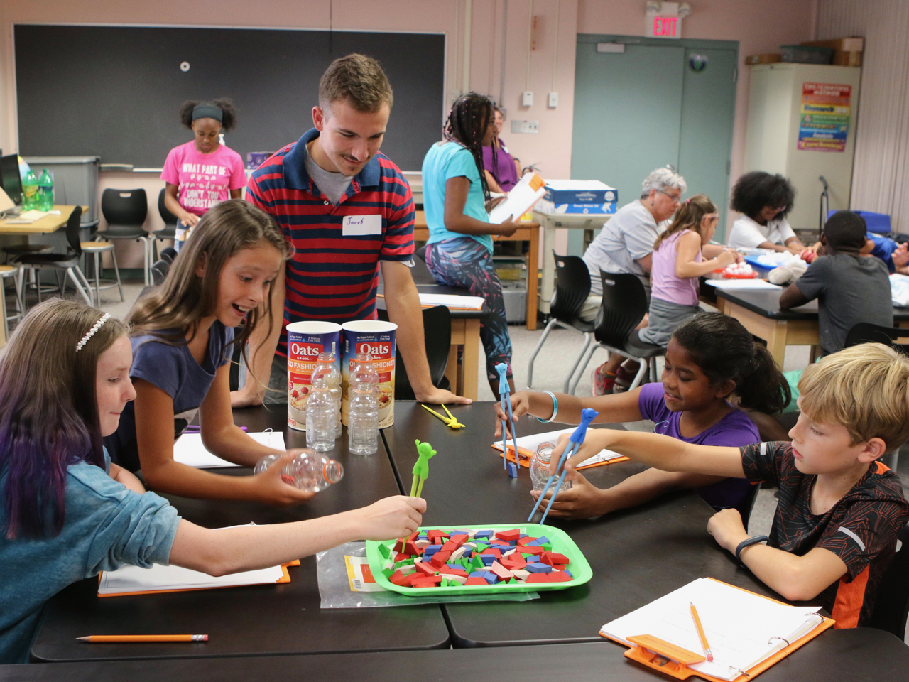 Students participate in a group activity in the 2019 Deaf Science Camp