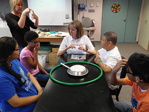 Jefferson Lab's Brita Hampton explains to students how to conduct an activity called The Shape of Things