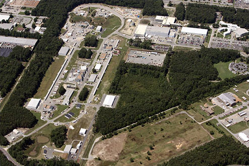 An overhead view of Jefferson Lab.