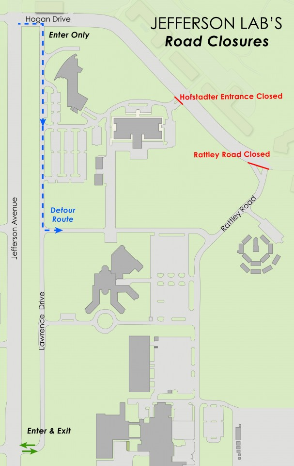 Jefferson Lab Entrance at Rattley Road Closed for Construction