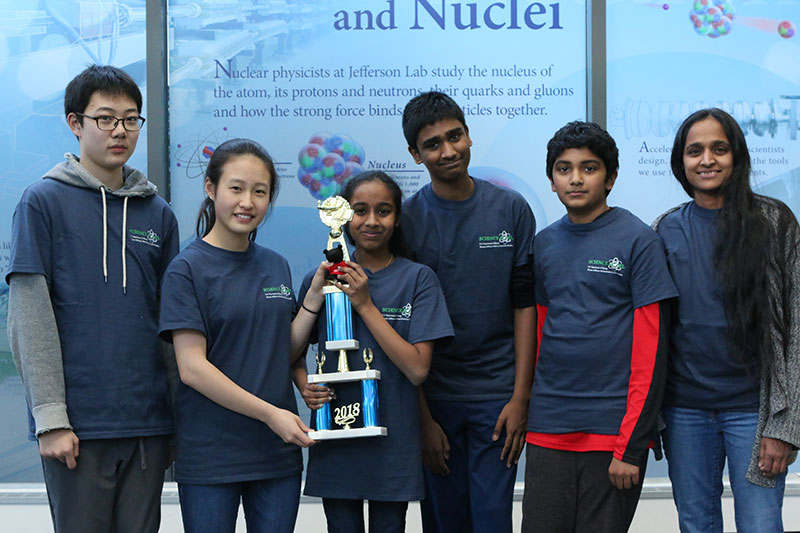 Finishing in third was the team from Frost Middle School, Fairfax. Pictured, left to right, are team members Sunoco Lee, Allison Seo, Suruthikha Vijay, Prashanth Kumaran, Ashwin Rajesh and Coach Anbuchellam Vijay.