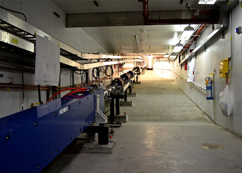 The new beamline connecting the accelerator to Hall D rises 5 meters before entering the Hall D complex