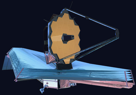 An artist's rendering of the James Webb Space Telescope