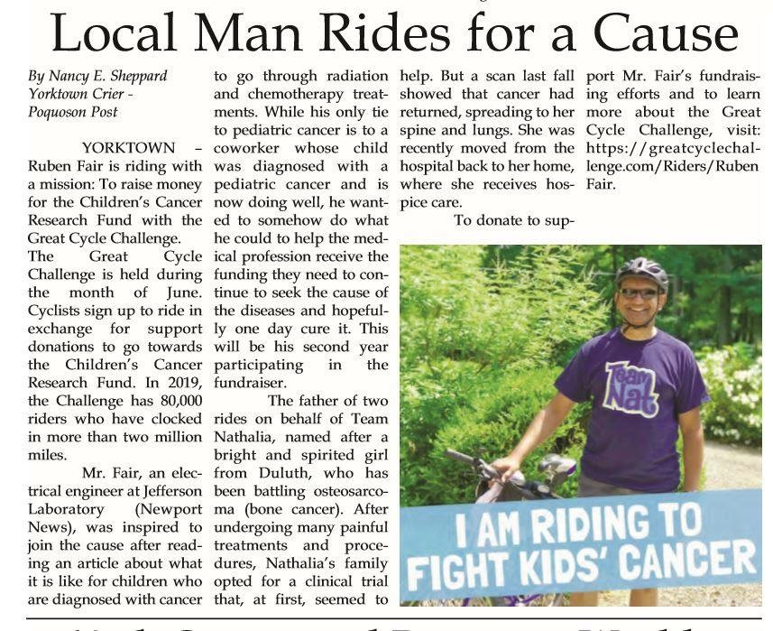 Local man rides for a cause newspaper article