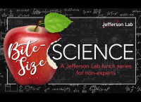 Bite-Size Science - A Jefferson Lab lunch series for the public, with an apple with a bite taken out on a blackboard background