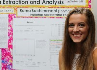 Student in front of a research project poster