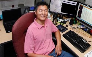Myung Bang at his desk.