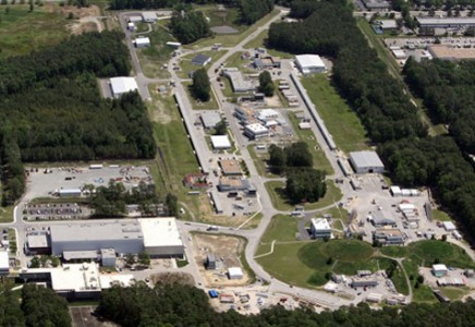 This aerial view of the Continuous Electron Beam Accelerator Facility