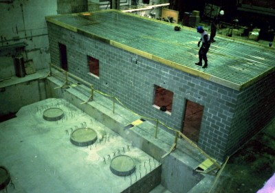 Concrete pour of Vertical Test Area in 1989