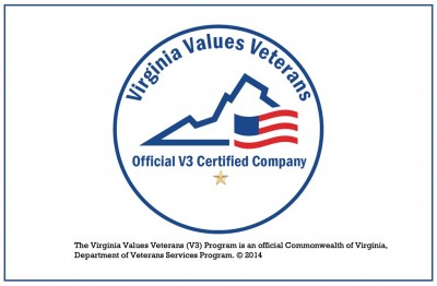 Seal of the Virginia Values Veterans program. The Virginia Values Veterans (V3) Program is an official Commonwealth of Virginia, Department of Veterans Services Program. (c) 2014
