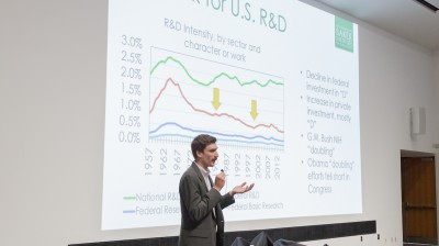 A speaker makes a presentation at the 2019 JLUO meeting