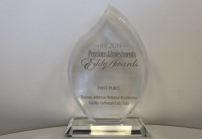Photo of Eddy Award, lucite teardrop
