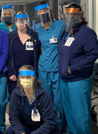 Medical staff wearing 3D-printed face shields