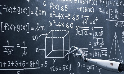 robot arm writes equations on a chalkboard