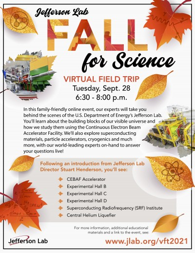 Fall for Science - Virtual Field Trip Event scheduled for Tuesday, Sept. 28 at 6:30 p.m.