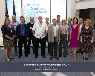 Photo of members of the 47th Program Advisory Committee, along with JLab Deputy Director for Science Bob McKeown.